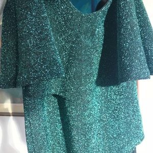 b228c270e1 Zara Tops - NWT Teal Zara glitter ruffle bodysuit M
